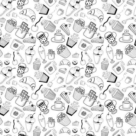 coffee icon: Desserts seamless pattern Illustration