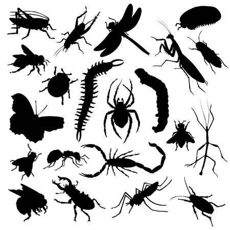 Set van insecten silhouetten Stock Illustratie
