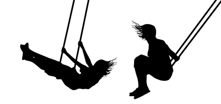 Meisje op een schommel silhouetten Stock Illustratie