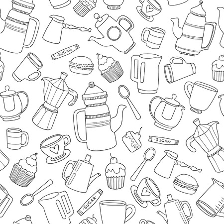 coffee icon: Hot drinks and desserts seamless pattern