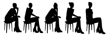 bar stool: sitting girl silhouettes Illustration