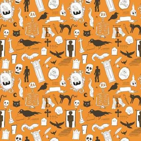 Scary symbols seamless background