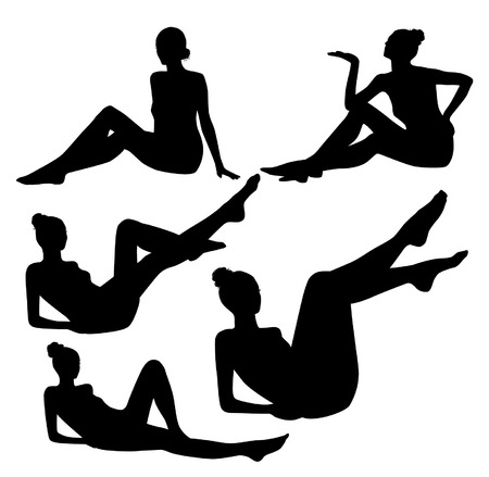 Lying and sitting woman silhouettes