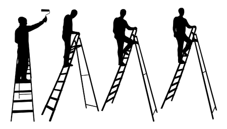 reportero: El hombre en siluetas de escalera