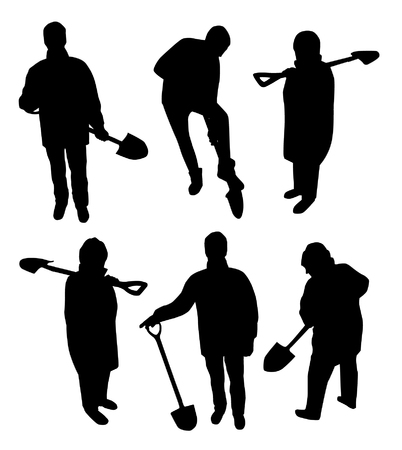 silhouettes people: People with shovel silhouettes Illustration