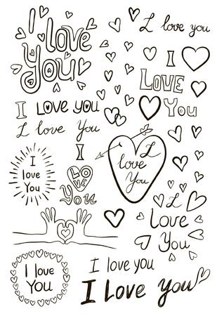 I love you, handwritten sketches