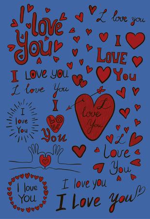 short phrase: I love you, handwritten sketches