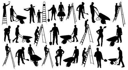 Working people silhouettes Vetores