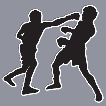 Boxing Silhouettes Illustration