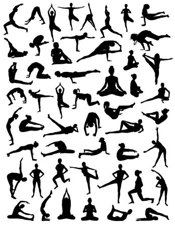 Yoga siluetas  Foto de archivo - 79851865