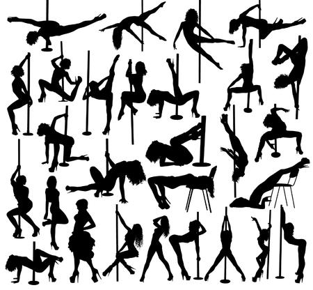 Striptease silhouettes Illustration