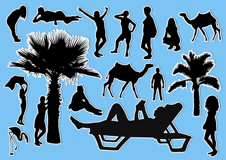 Set of beach silhouettes stickers Illustration