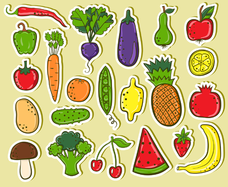 Fruits and vegetables stickers