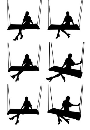 Woman on swing silhouettes