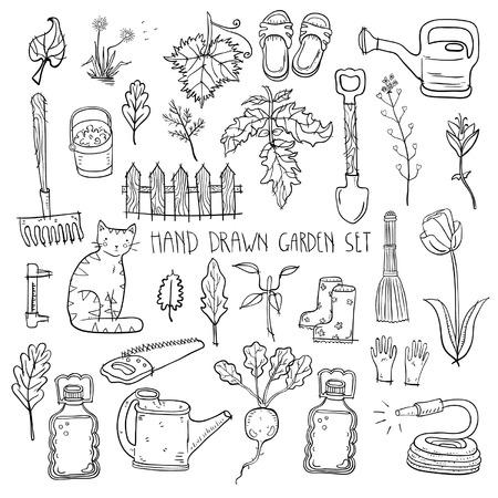 Hand drawn garden set Ilustração