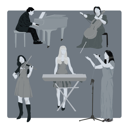 Set of Musicians Silhouettes Vector illustration.