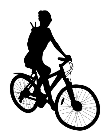 Girl On A Bike Silhouette Vectores