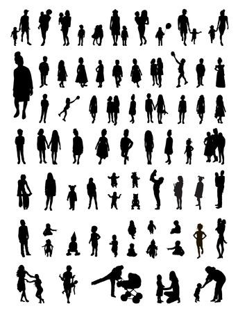 Vector set of children silhouettes