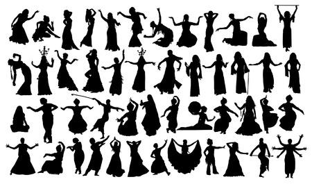 Set van oosterse danssilhouetten
