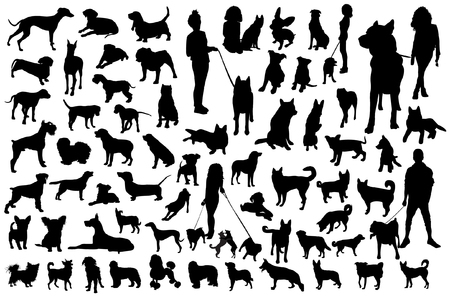 Set of dog silhouettes on white. Vettoriali
