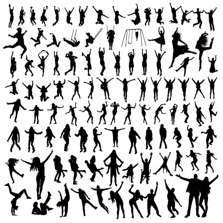 Set of jumping people silhouettes