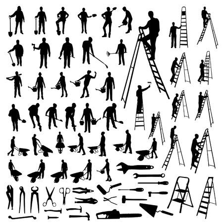 Set of working people silhouettes Ilustração
