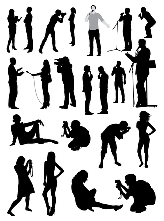 Vector media people silhouettes