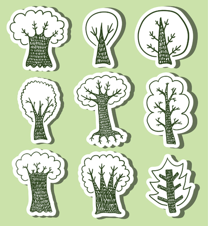 hand drawn trees on green background