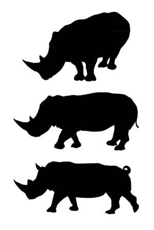 Set of rhino silhouettes