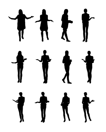 Vector set of gesturing woman