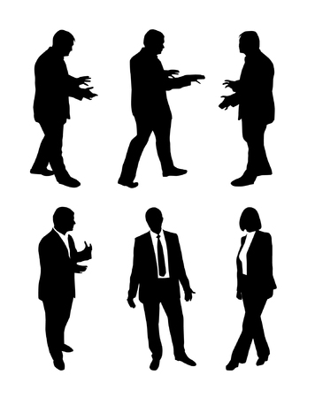 Vector set of talking business people