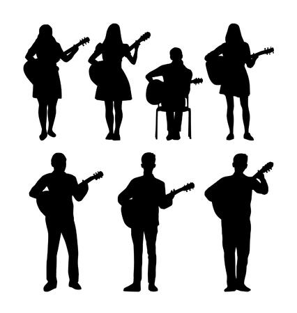 Guitarists vector silhouettes Stock Illustratie