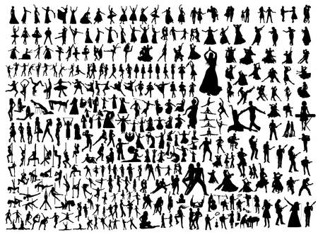 Black dancing people and musicians isolated silhouettes collection. Ballet, indian, latin, folk, oriental dance set.