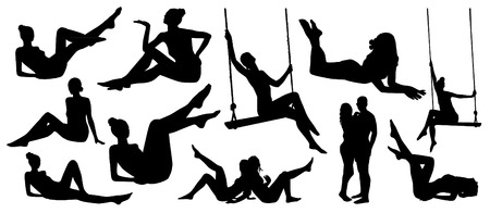 Set of relaxing sitting girl silhouettes Illustration