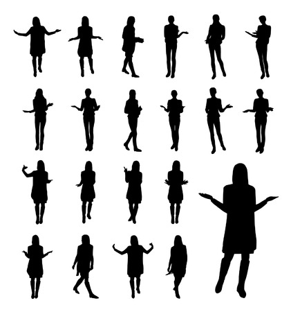 Talking and gesturing woman silhouettes