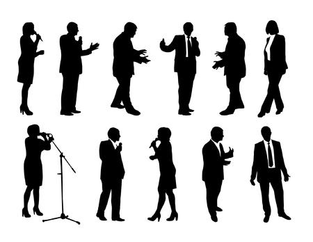set of orator silhouettes Vector illustration.