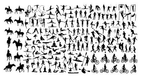 Active people silhouettes Vector illustration. Stock Illustratie