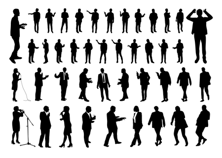 Talking people silhouettes  イラスト・ベクター素材