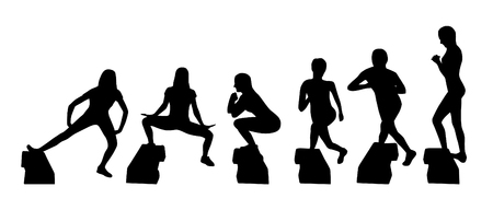 Vector silhouettes of step platform exercisers illustration. Çizim