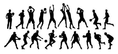 Vector set of basketball players illustration. Иллюстрация