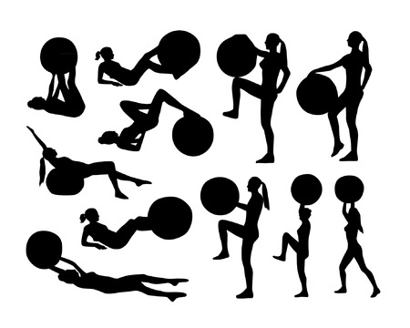 Vector set of silhouettes with fitness ball