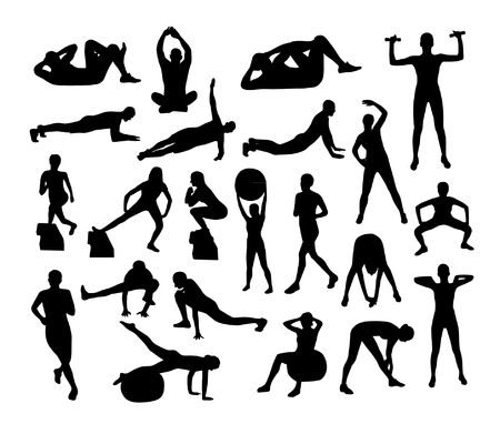 Vector fitness silhouettes illustration.