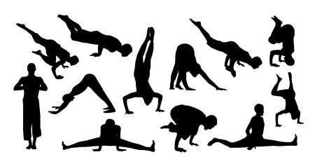 Vector set of yoga silhouettes