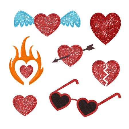 set with stylized hearts. Original symbols for your design.