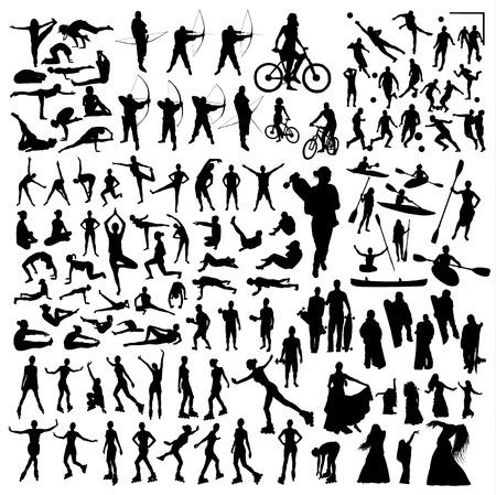 Gran conjunto deportivo. Gimnasia yoga bicicleta barco skate danza y tiro con arco Ilustración de vector