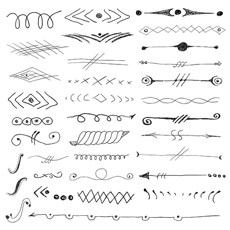 Abstract pattern hand drawn vignettes set Çizim