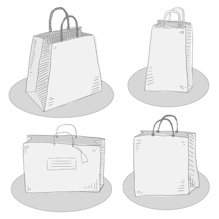 Four hand draw package bag set. Isolated shop market packet set on white background