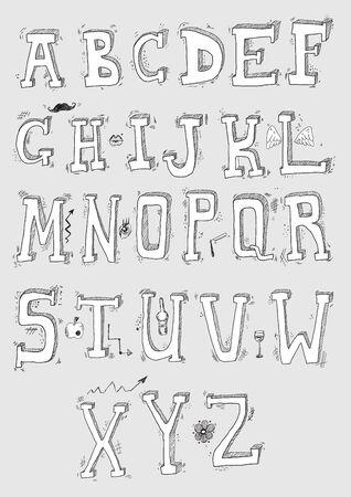 Funny Hand Draw Alphabet. Doodle Letters Design Set. Ilustração