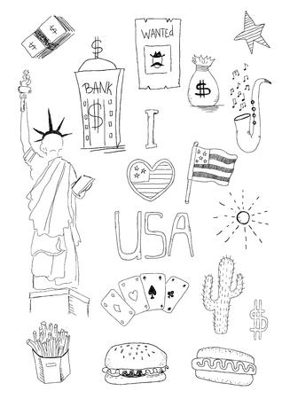 USA Nowy Jork wektor ręcznie rysować gryzmoły zestaw. Zestaw amerykańskich izolowanych symboli
