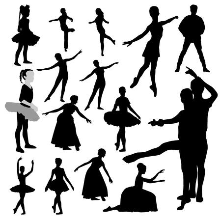 Ballerina black isolated silhouette on white background